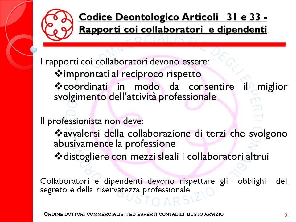 Codice Deontologico Articoli 31 e 33 - Rapporti coi collaboratori e dipendenti I rapporti coi collaboratori devono essere: improntati al reciproco ris
