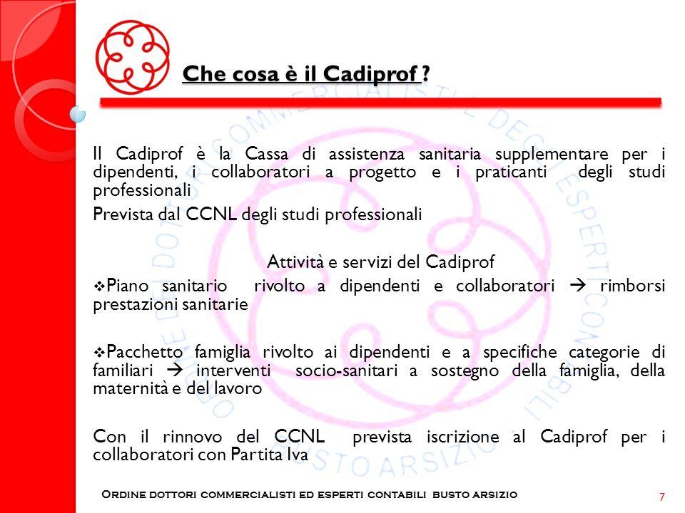 Che cosa è il Cadiprof ? Ordine dottori commercialisti ed esperti contabili busto arsizio 7 Il Cadiprof è la Cassa di assistenza sanitaria supplementa