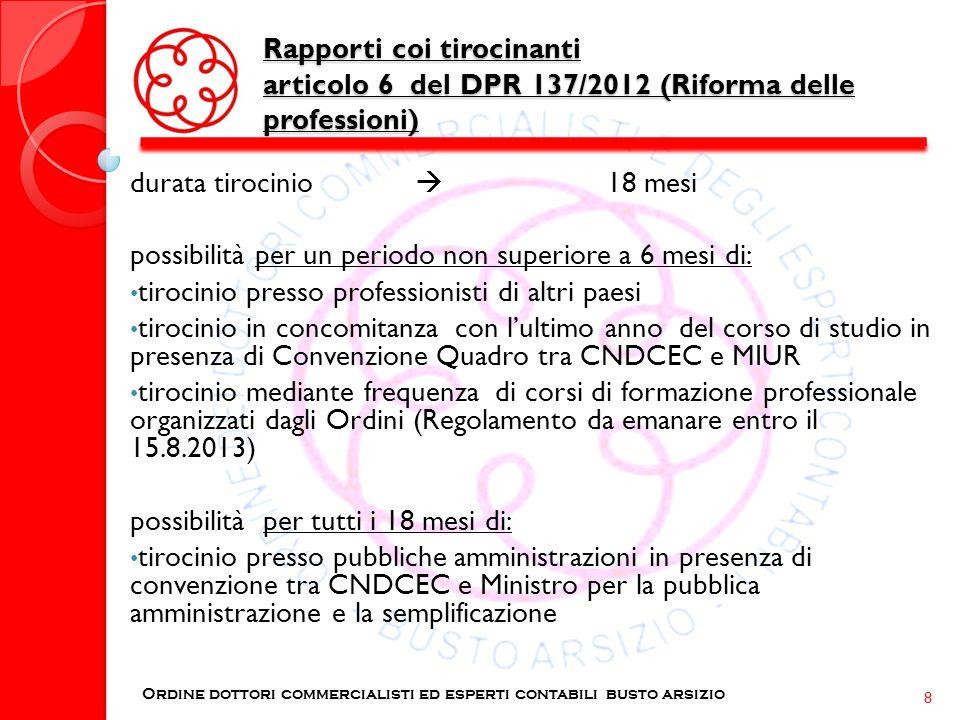 Rapporti coi tirocinanti articolo 6 del DPR 137/2012 (Riforma delle professioni) Ordine dottori commercialisti ed esperti contabili busto arsizio 8 du