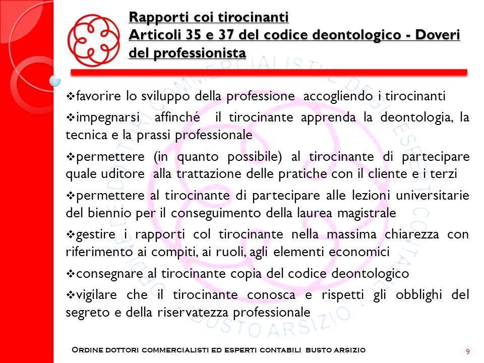 Rapporti coi tirocinanti Articoli 35 e 37 del codice deontologico - Doveri del professionista Ordine dottori commercialisti ed esperti contabili busto