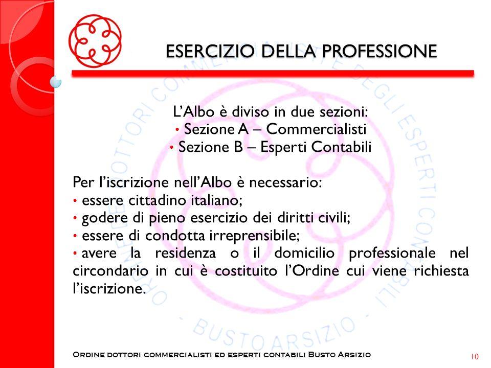 ESERCIZIO DELLA PROFESSIONE LAlbo è diviso in due sezioni: Sezione A – Commercialisti Sezione B – Esperti Contabili Per liscrizione nellAlbo è necessa