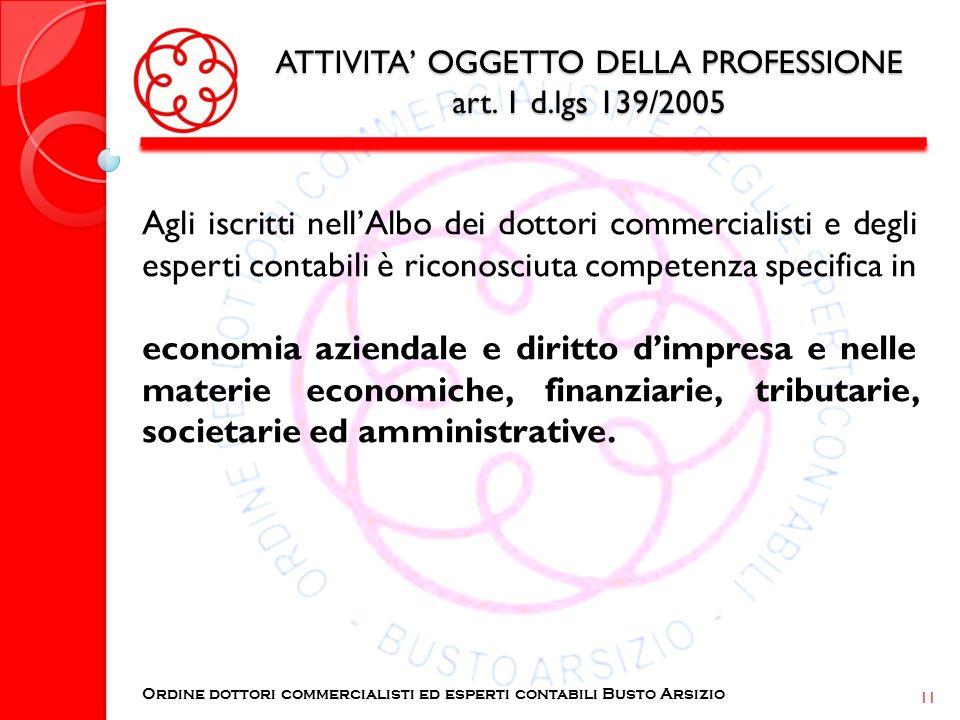 ATTIVITA OGGETTO DELLA PROFESSIONE art. 1 d.lgs 139/2005 Agli iscritti nellAlbo dei dottori commercialisti e degli esperti contabili è riconosciuta co