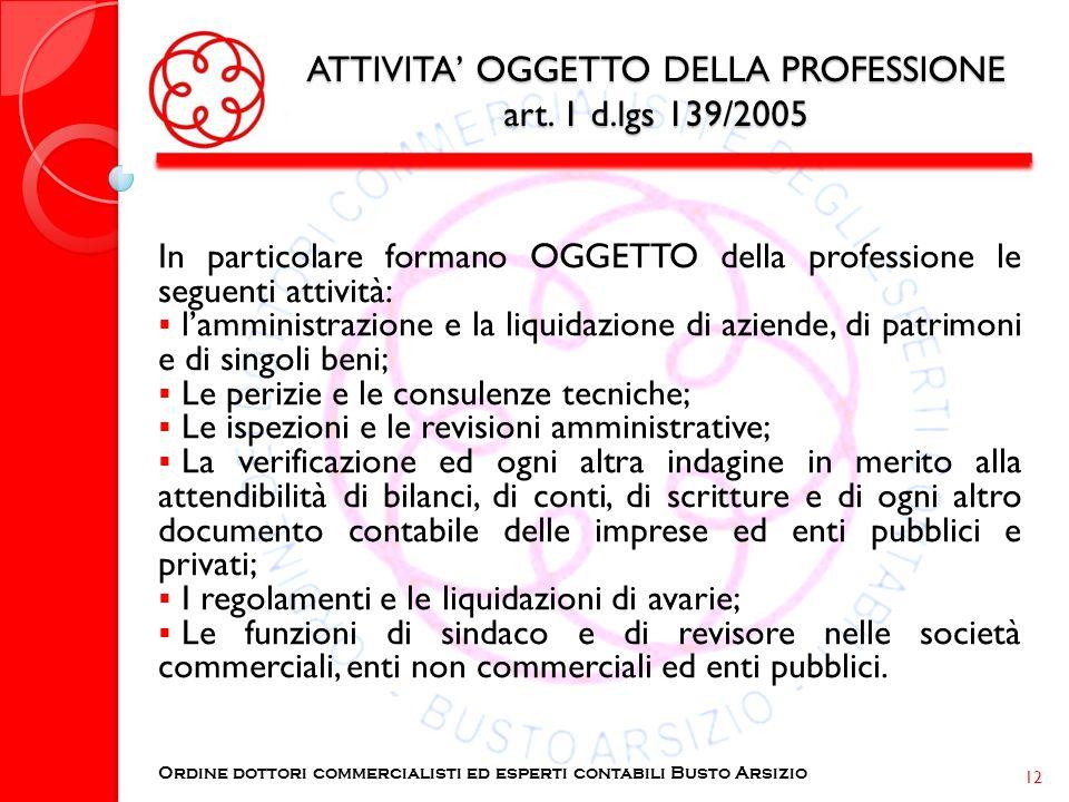 ATTIVITA OGGETTO DELLA PROFESSIONE art. 1 d.lgs 139/2005 In particolare formano OGGETTO della professione le seguenti attività: lamministrazione e la