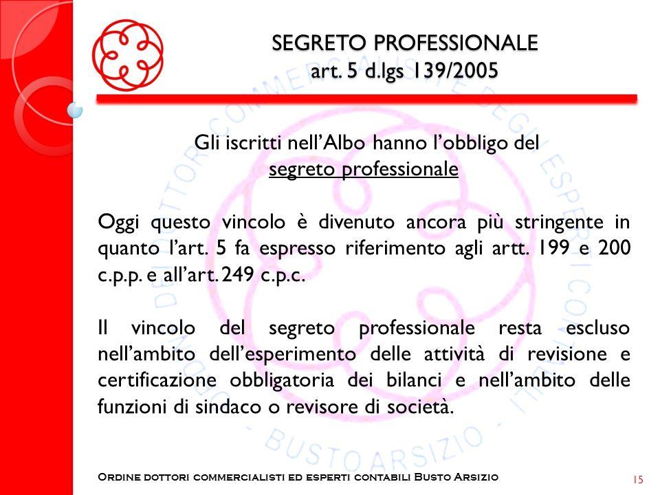 SEGRETO PROFESSIONALE art. 5 d.lgs 139/2005 Gli iscritti nellAlbo hanno lobbligo del segreto professionale Oggi questo vincolo è divenuto ancora più s