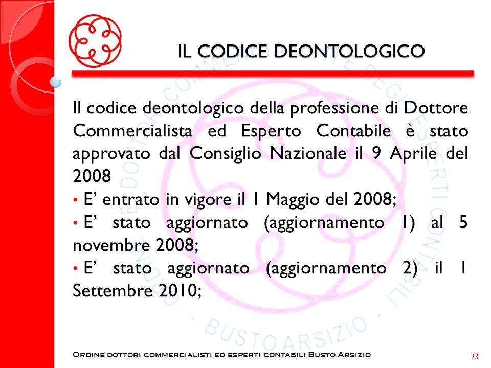 IL CODICE DEONTOLOGICO Il codice deontologico della professione di Dottore Commercialista ed Esperto Contabile è stato approvato dal Consiglio Naziona