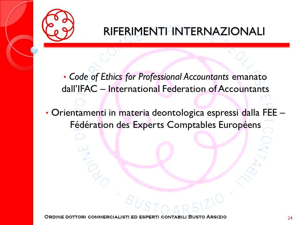 RIFERIMENTI INTERNAZIONALI Code of Ethics for Professional Accountants emanato dallIFAC – International Federation of Accountants Orientamenti in mate