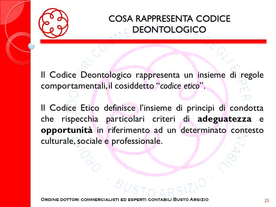 COSA RAPPRESENTA CODICE DEONTOLOGICO Il Codice Deontologico rappresenta un insieme di regole comportamentali, il cosiddetto codice etico. Il Codice Et