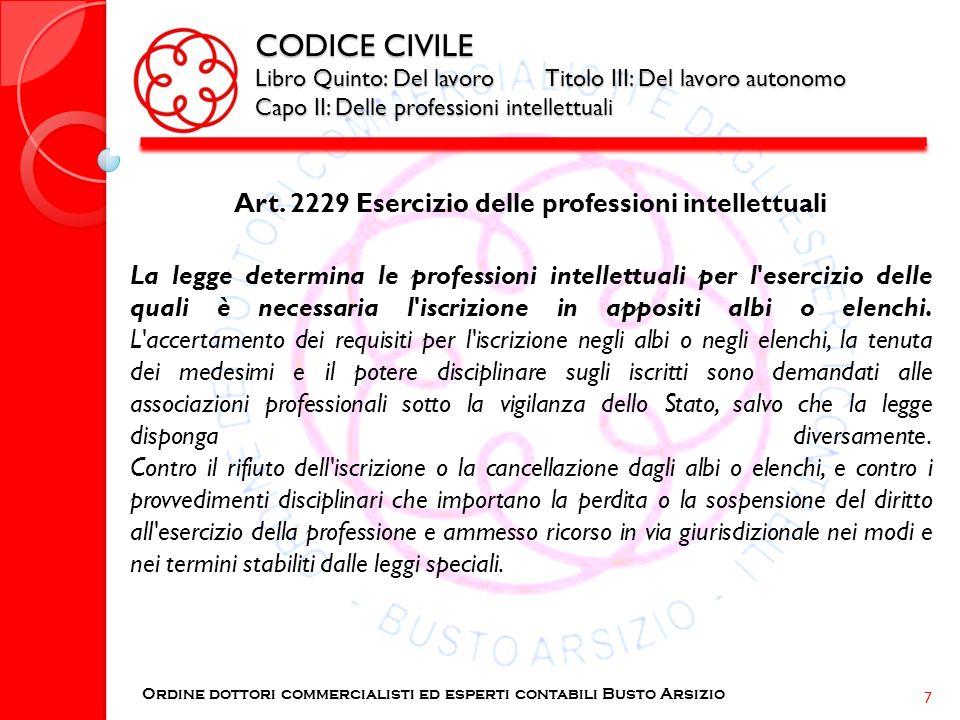 CODICE CIVILE Libro Quinto: Del lavoro Titolo III: Del lavoro autonomo Capo II: Delle professioni intellettuali Art. 2229 Esercizio delle professioni
