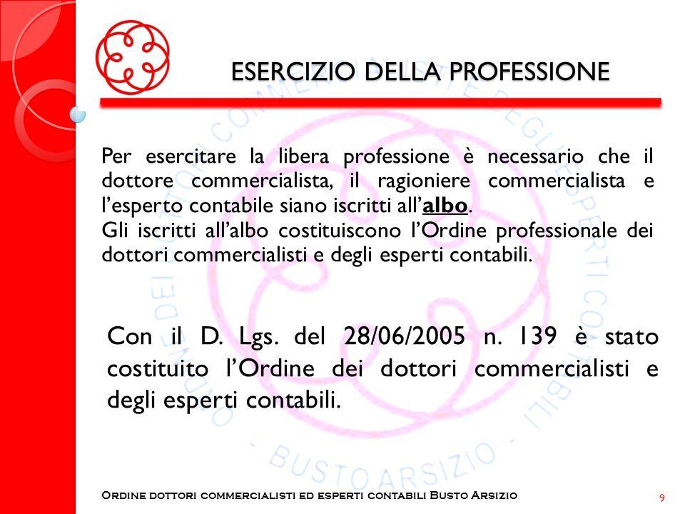 ESERCIZIO DELLA PROFESSIONE Per esercitare la libera professione è necessario che il dottore commercialista, il ragioniere commercialista e lesperto c