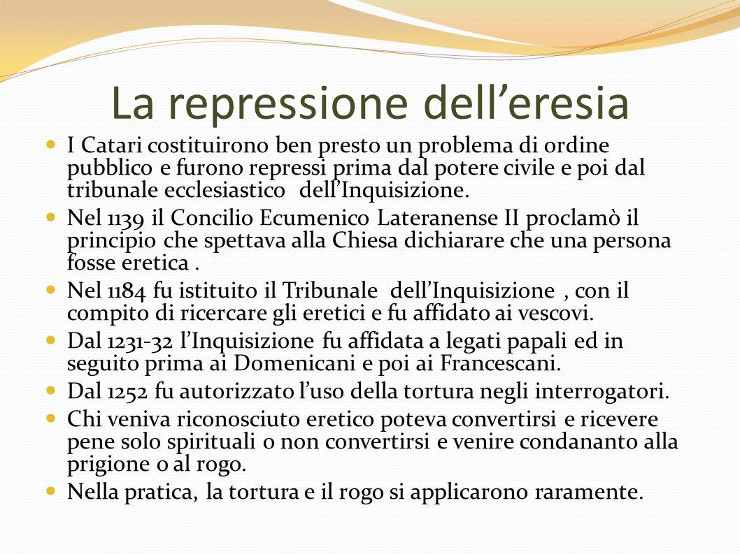 La repressione delleresia I Catari costituirono ben presto un problema di ordine pubblico e furono repressi prima dal potere civile e poi dal tribunal