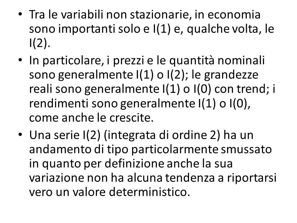 Tra le variabili non stazionarie, in economia sono importanti solo e I(1) e, qualche volta, le I(2). In particolare, i prezzi e le quantità nominali s