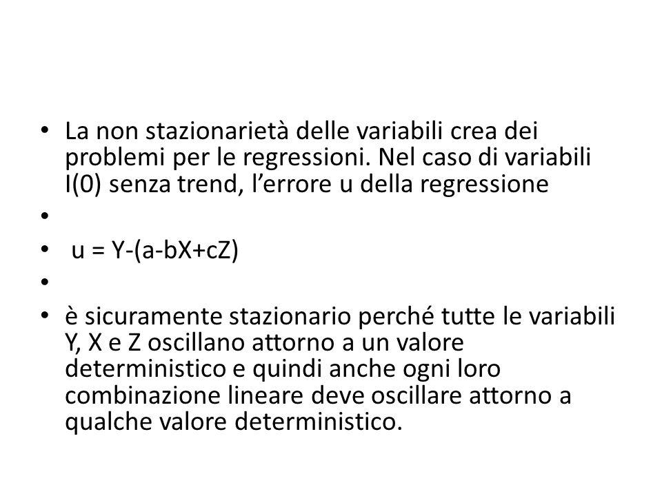 La non stazionarietà delle variabili crea dei problemi per le regressioni. Nel caso di variabili I(0) senza trend, lerrore u della regressione u = Y-(
