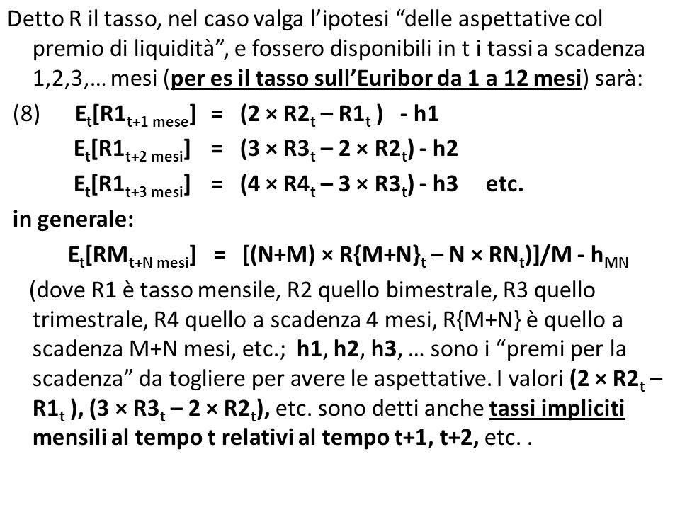 Detto R il tasso, nel caso valga lipotesi delle aspettative col premio di liquidità, e fossero disponibili in t i tassi a scadenza 1,2,3,… mesi (per es il tasso sullEuribor da 1 a 12 mesi) sarà: (8)E t [R1 t+1 mese ]= (2 × R2 t – R1 t ) - h1 E t [R1 t+2 mesi ] = (3 × R3 t – 2 × R2 t ) - h2 E t [R1 t+3 mesi ] = (4 × R4 t – 3 × R3 t ) - h3 etc.