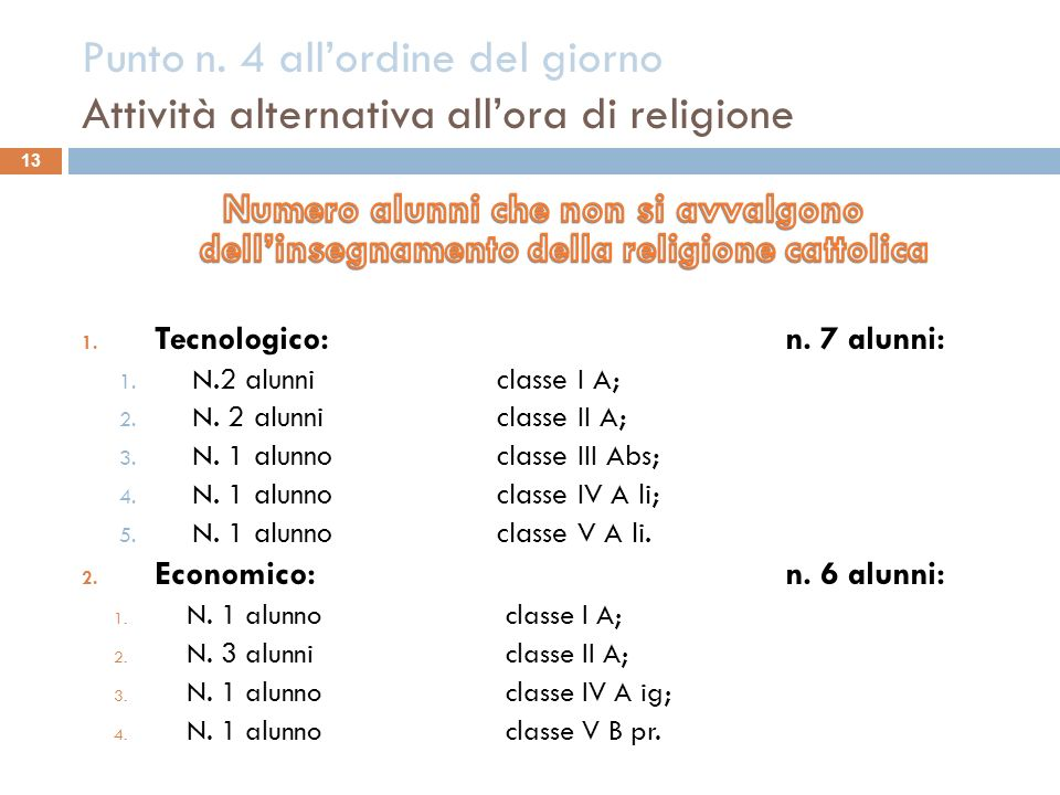 Punto n. 4 allordine del giorno Attività alternativa allora di religione 13