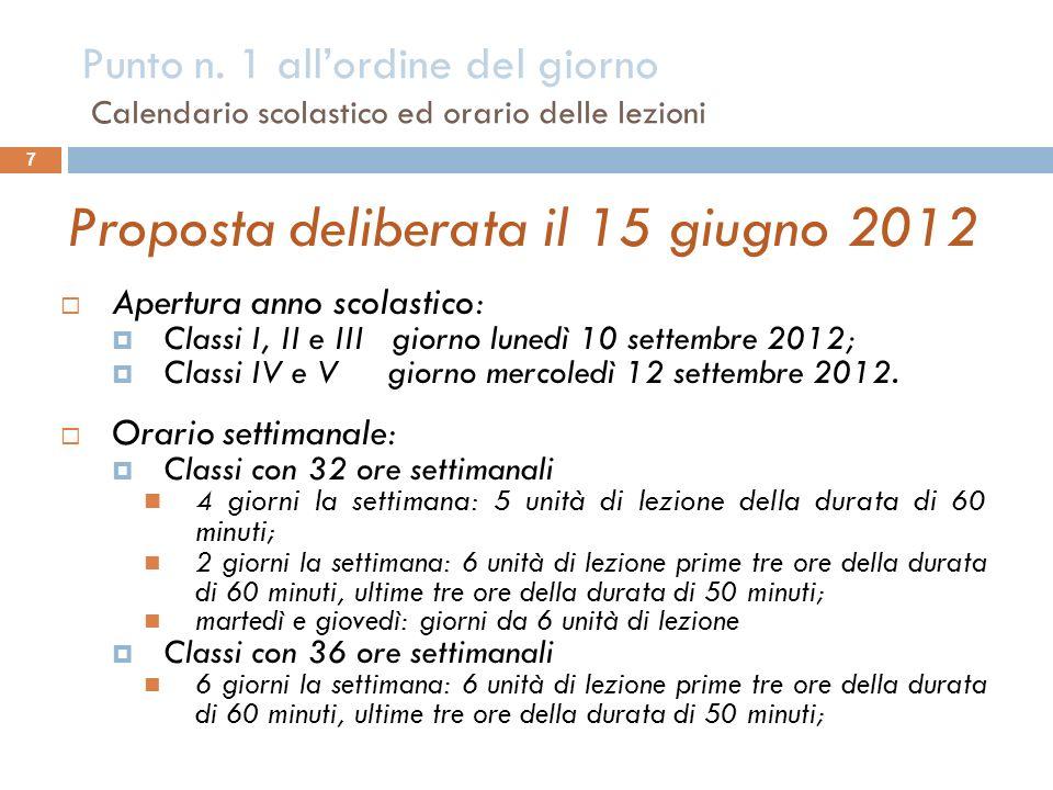 7 Proposta deliberata il 15 giugno 2012 Apertura anno scolastico: Classi I, II e III giorno lunedì 10 settembre 2012; Classi IV e V giorno mercoledì 12 settembre 2012.