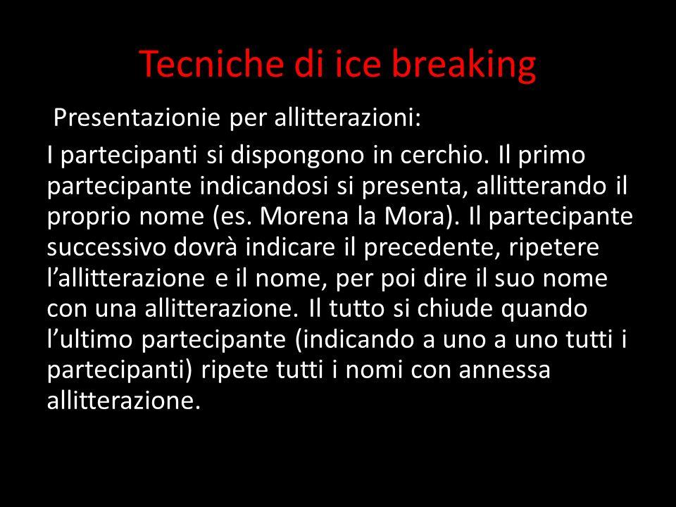 Tecniche di ice breaking Presentazionie per allitterazioni: I partecipanti si dispongono in cerchio. Il primo partecipante indicandosi si presenta, al