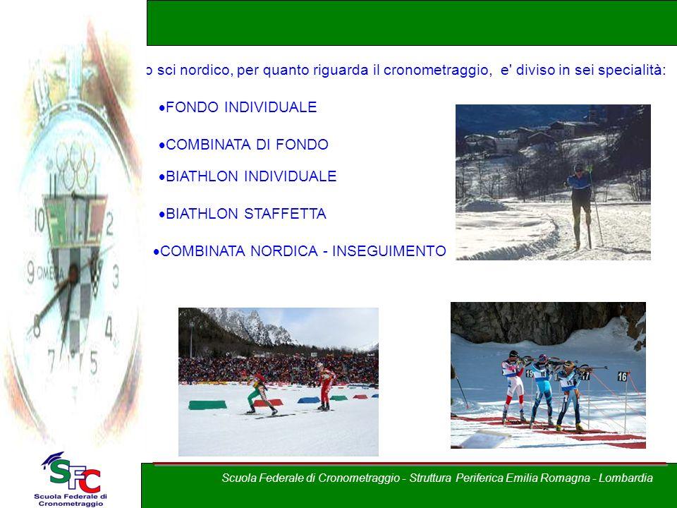 A cura di Andrea Pederzoli Lo sci nordico, per quanto riguarda il cronometraggio, e' diviso in sei specialità: FONDO INDIVIDUALE STAFFETTA COMBINATA D