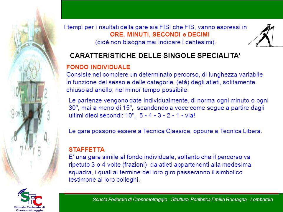 A cura di Andrea Pederzoli I tempi per i risultati della gare sia FISI che FIS, vanno espressi in ORE, MINUTI, SECONDI e DECIMI (cioè non bisogna mai
