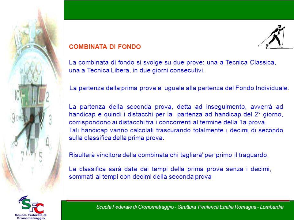 A cura di Andrea Pederzoli COMBINATA DI FONDO La combinata di fondo si svolge su due prove: una a Tecnica Classica, una a Tecnica Libera, in due giorn