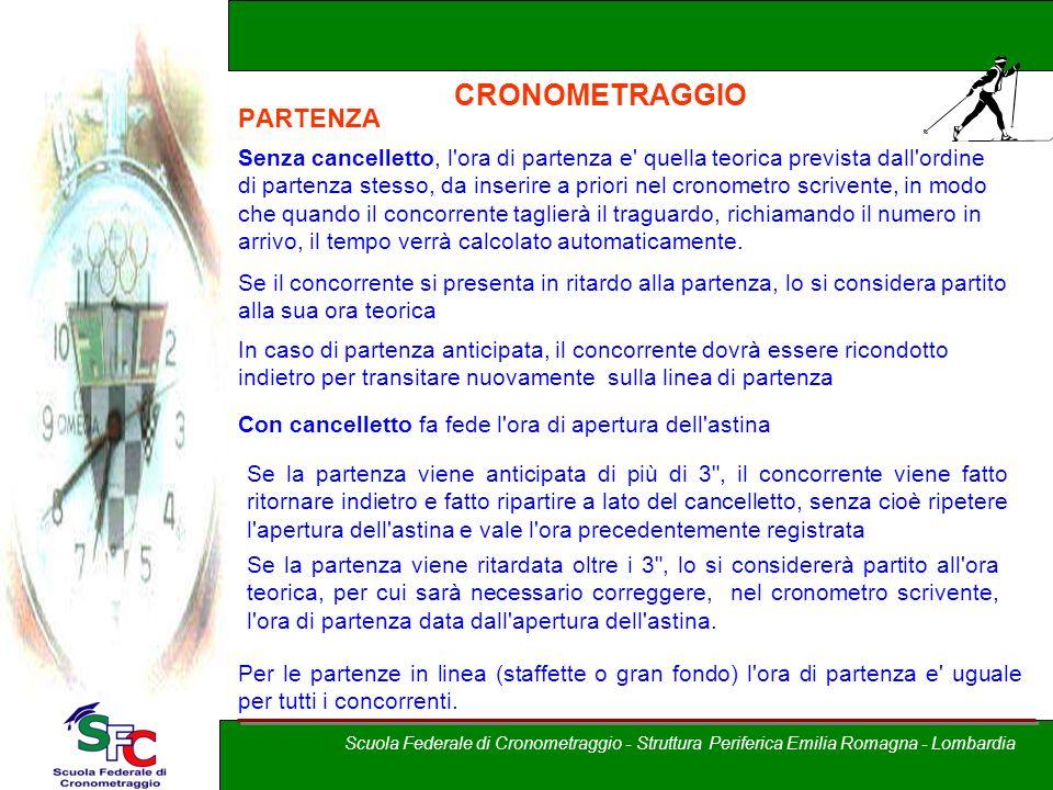 A cura di Andrea Pederzoli CRONOMETRAGGIO PARTENZA Senza cancelletto, l'ora di partenza e' quella teorica prevista dall'ordine di partenza stesso, da