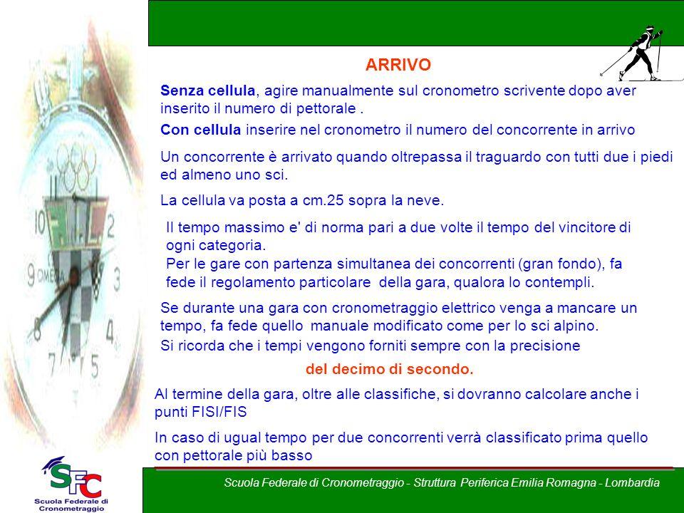 A cura di Andrea Pederzoli ARRIVO Senza cellula, agire manualmente sul cronometro scrivente dopo aver inserito il numero di pettorale. Con cellula ins