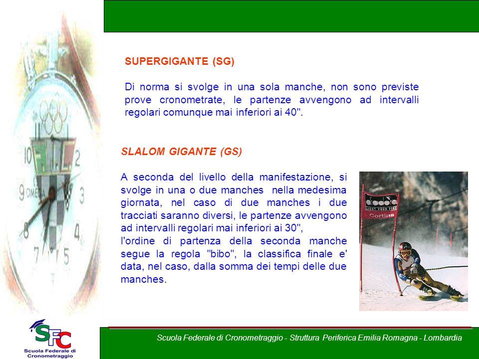 A cura di Andrea Pederzoli SUPERGIGANTE (SG) Di norma si svolge in una sola manche, non sono previste prove cronometrate, le partenze avvengono ad int