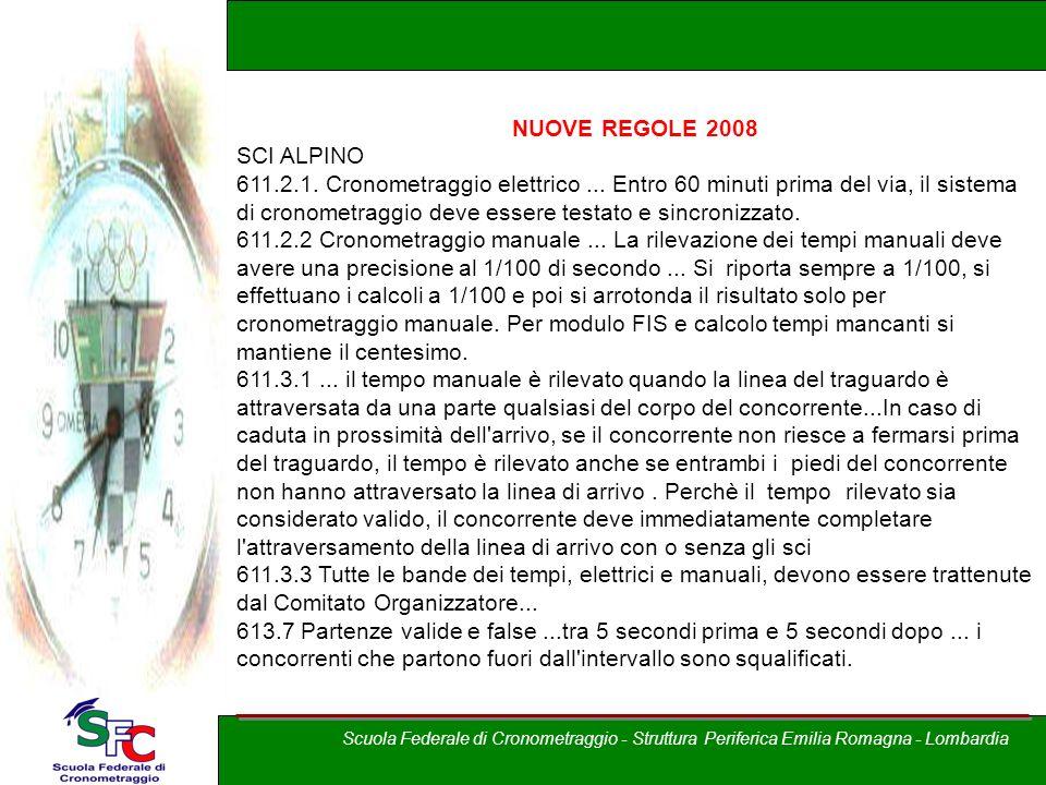 A cura di Andrea Pederzoli NUOVE REGOLE 2008 SCI ALPINO 611.2.1. Cronometraggio elettrico... Entro 60 minuti prima del via, il sistema di cronometragg