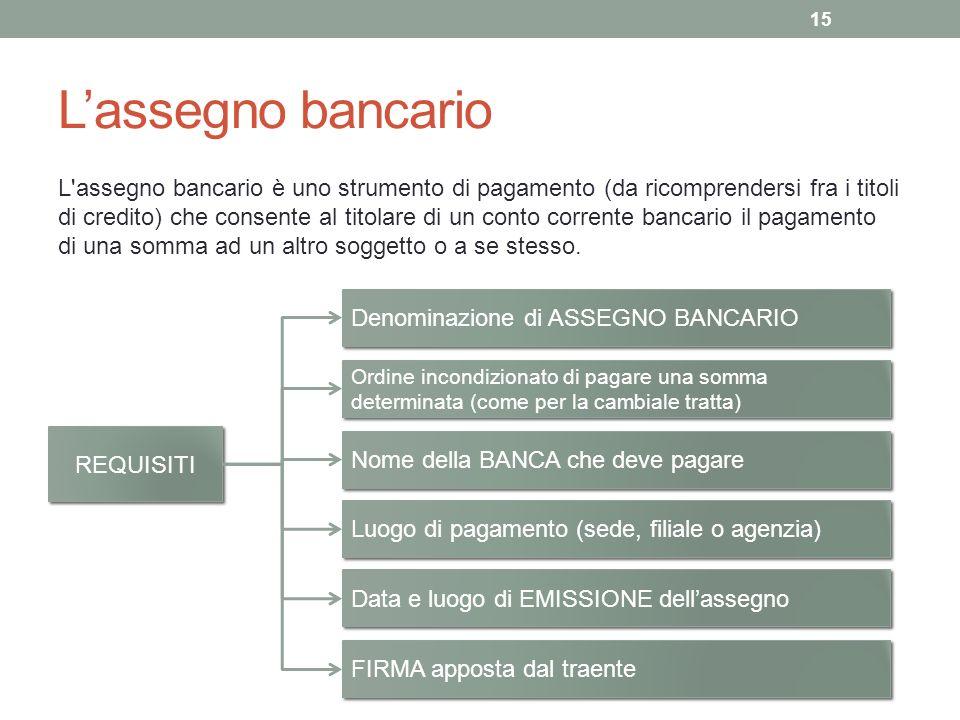 Lassegno bancario L assegno bancario è uno strumento di pagamento (da ricomprendersi fra i titoli di credito) che consente al titolare di un conto corrente bancario il pagamento di una somma ad un altro soggetto o a se stesso.