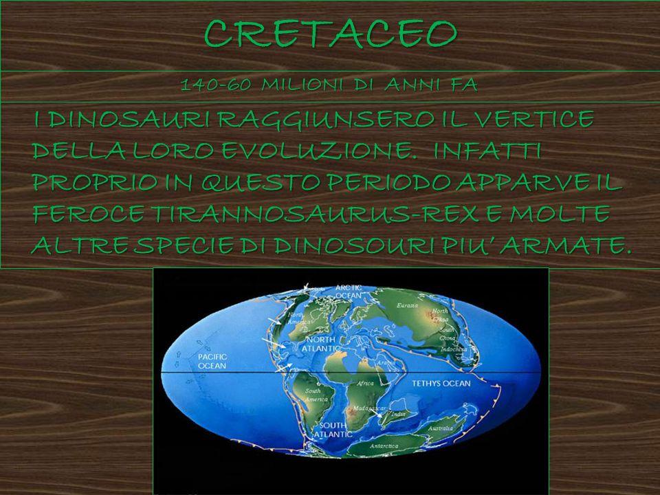 CRETACEO 140-60 MILIONI DI ANNI FA I DINOSAURI RAGGIUNSERO IL VERTICE DELLA LORO EVOLUZIONE. INFATTI PROPRIO IN QUESTO PERIODO APPARVE IL FEROCE TIRAN