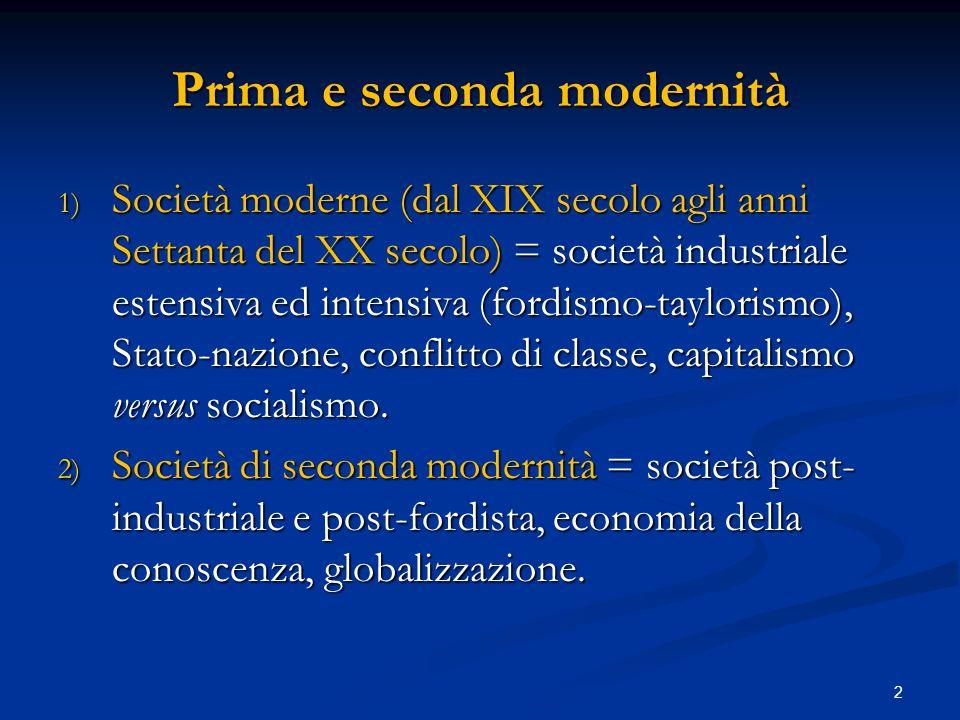 Prima e seconda modernità 1) Società moderne (dal XIX secolo agli anni Settanta del XX secolo) = società industriale estensiva ed intensiva (fordismo-taylorismo), Stato-nazione, conflitto di classe, capitalismo versus socialismo.