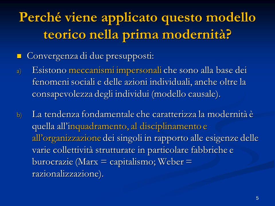 Perché viene applicato questo modello teorico nella prima modernità.