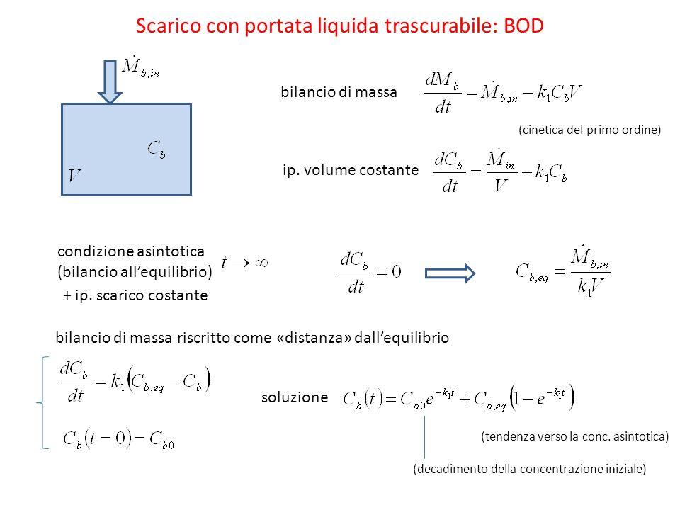 bilancio di massa Scarico con portata liquida trascurabile: BOD ip.