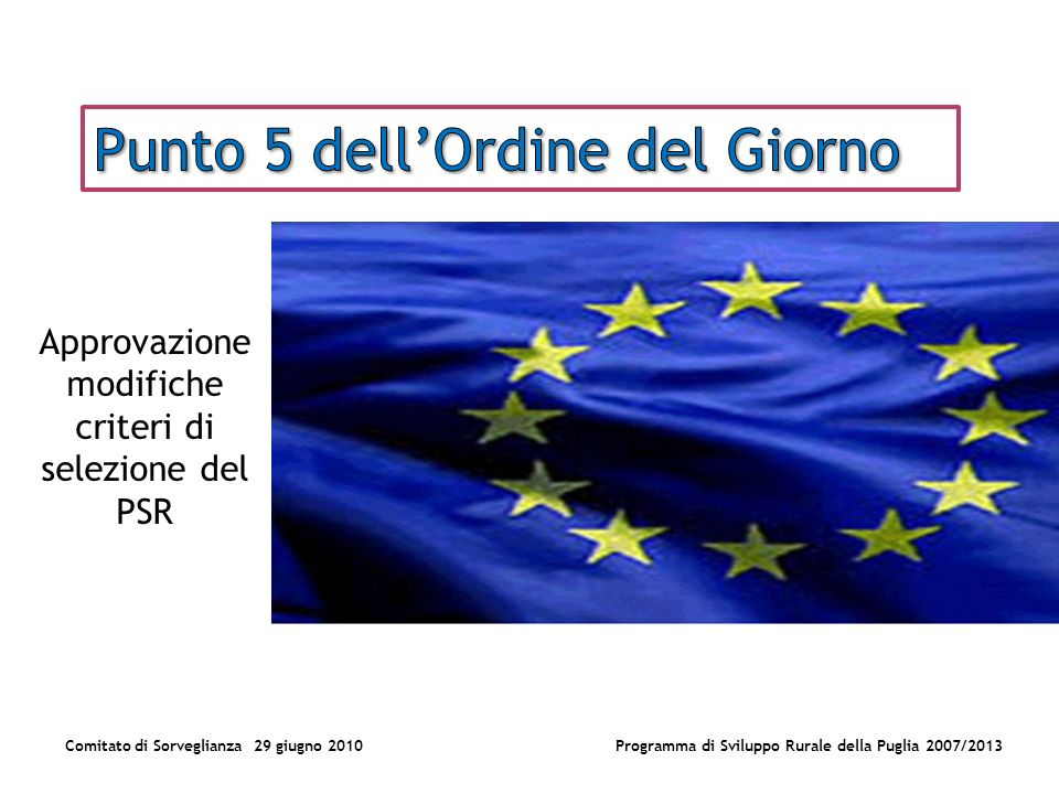 Comitato di Sorveglianza 29 giugno 2010Programma di Sviluppo Rurale della Puglia 2007/2013 Approvazione modifiche criteri di selezione del PSR