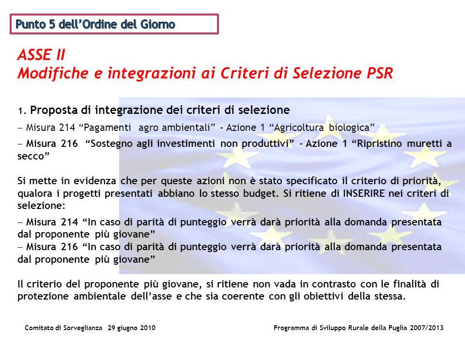 ASSE II Modifiche e integrazioni ai Criteri di Selezione PSR Comitato di Sorveglianza 29 giugno 2010Programma di Sviluppo Rurale della Puglia 2007/2013 1.