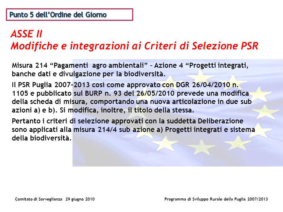 ASSE II Modifiche e integrazioni ai Criteri di Selezione PSR Comitato di Sorveglianza 29 giugno 2010Programma di Sviluppo Rurale della Puglia 2007/2013 Misura 214 Pagamenti agro ambientali – Azione 4 Progetti integrati, banche dati e divulgazione per la biodiversità.