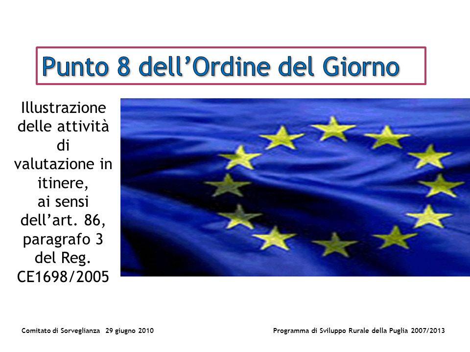 Comitato di Sorveglianza 29 giugno 2010Programma di Sviluppo Rurale della Puglia 2007/2013 Illustrazione delle attività di valutazione in itinere, ai sensi dellart.
