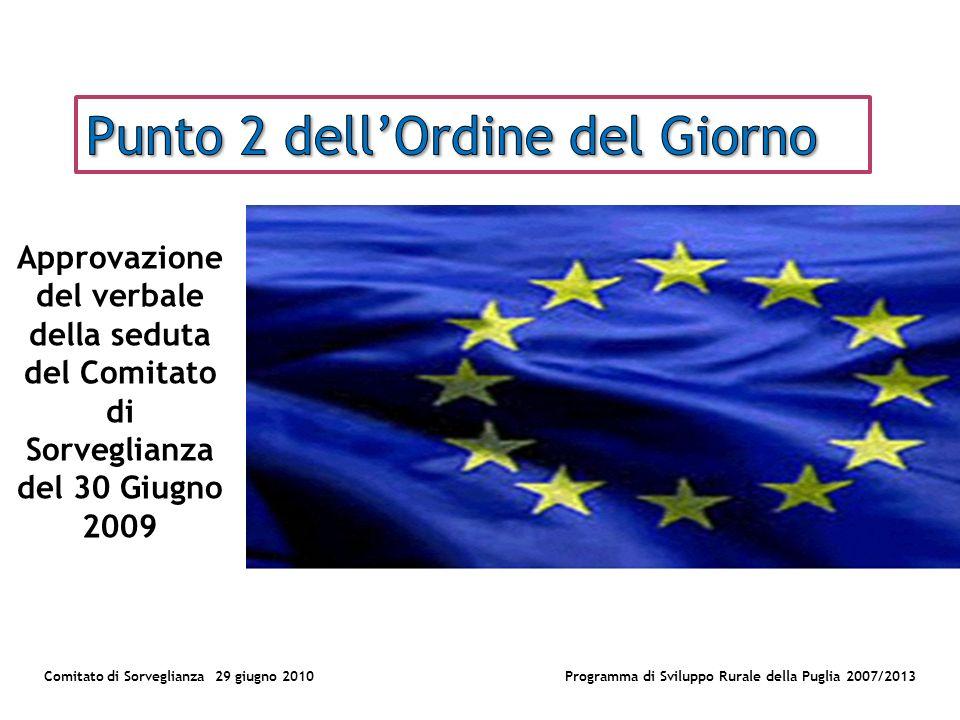 Comitato di Sorveglianza 29 giugno 2010Programma di Sviluppo Rurale della Puglia 2007/2013 Approvazione del verbale della seduta del Comitato di Sorveglianza del 30 Giugno 2009