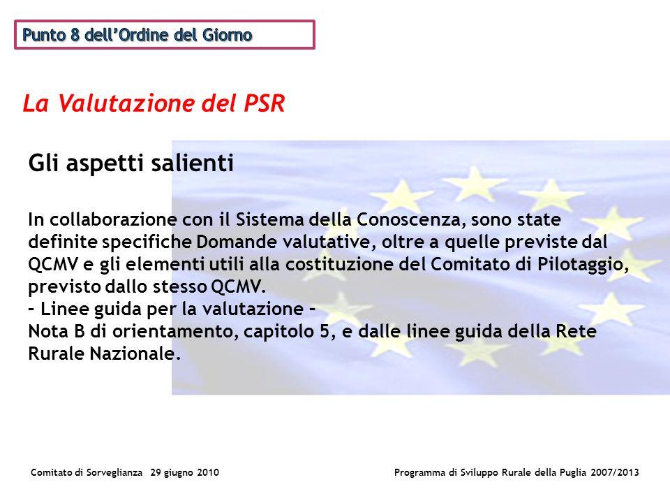 La Valutazione del PSR Comitato di Sorveglianza 29 giugno 2010Programma di Sviluppo Rurale della Puglia 2007/2013 Gli aspetti salienti In collaborazione con il Sistema della Conoscenza, sono state definite specifiche Domande valutative, oltre a quelle previste dal QCMV e gli elementi utili alla costituzione del Comitato di Pilotaggio, previsto dallo stesso QCMV.