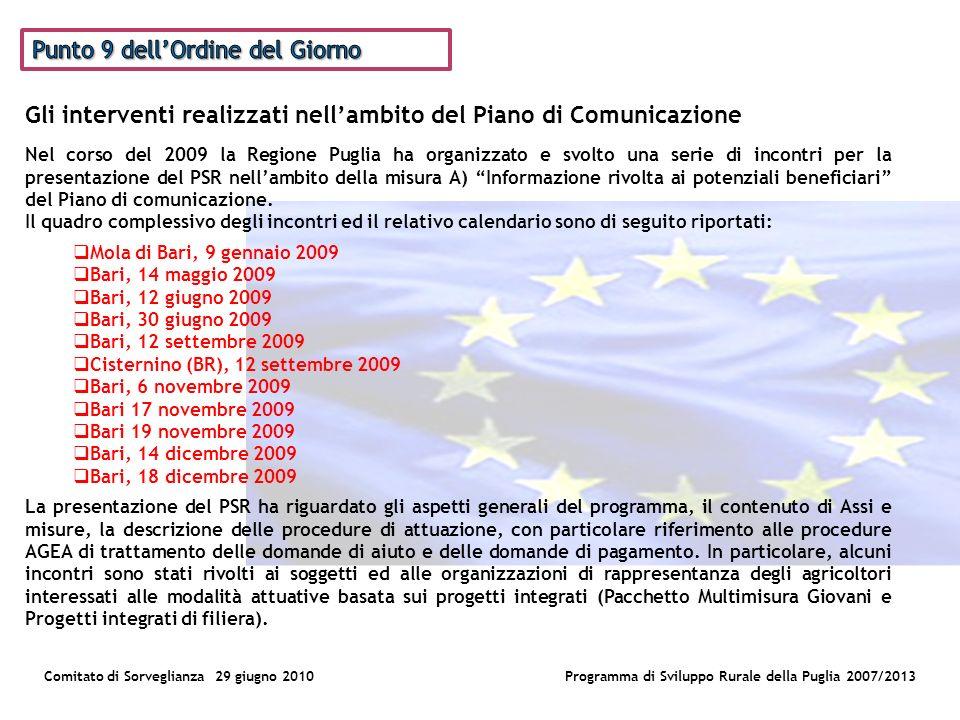 Comitato di Sorveglianza 29 giugno 2010Programma di Sviluppo Rurale della Puglia 2007/2013 Nel corso del 2009 la Regione Puglia ha organizzato e svolto una serie di incontri per la presentazione del PSR nellambito della misura A) Informazione rivolta ai potenziali beneficiari del Piano di comunicazione.