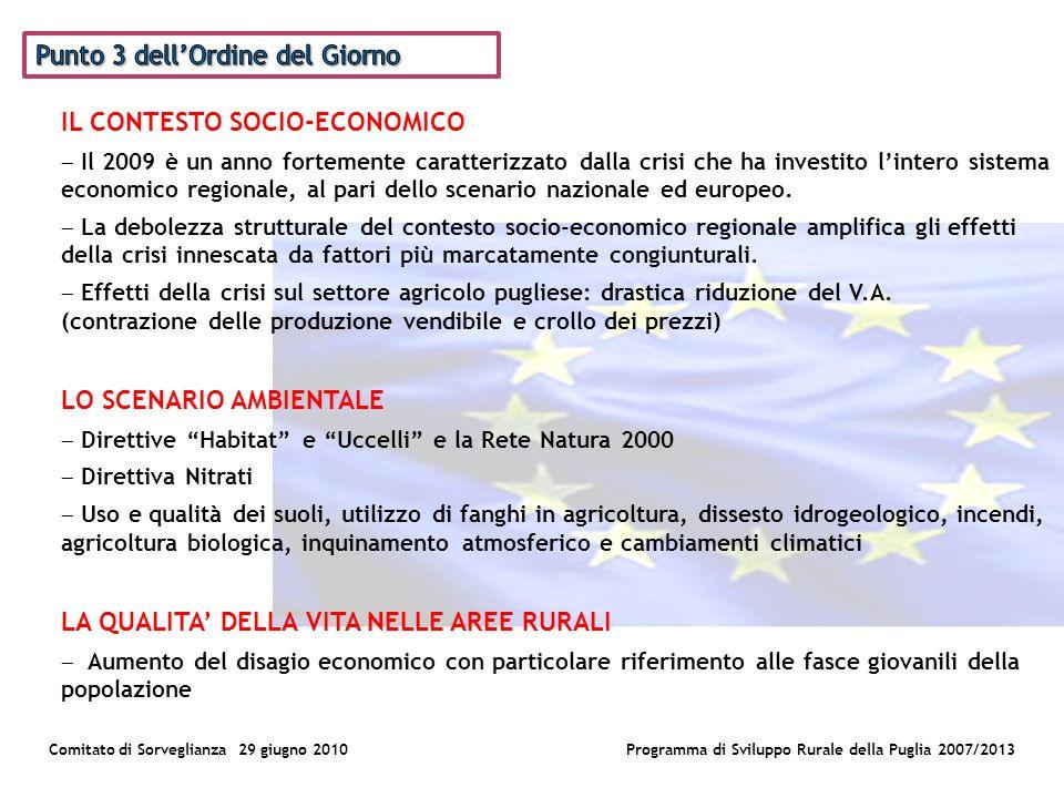Comitato di Sorveglianza 29 giugno 2010Programma di Sviluppo Rurale della Puglia 2007/2013 IL CONTESTO SOCIO-ECONOMICO Il 2009 è un anno fortemente caratterizzato dalla crisi che ha investito lintero sistema economico regionale, al pari dello scenario nazionale ed europeo.