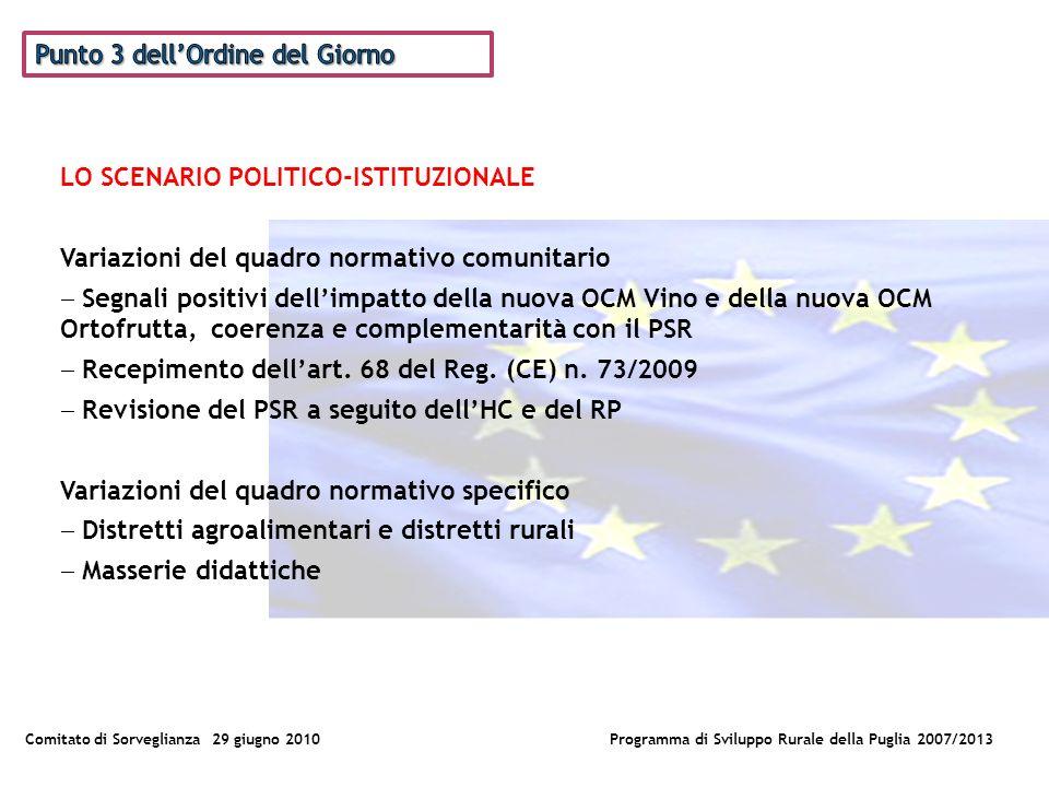 Comitato di Sorveglianza 29 giugno 2010Programma di Sviluppo Rurale della Puglia 2007/2013 LO SCENARIO POLITICO-ISTITUZIONALE Variazioni del quadro normativo comunitario Segnali positivi dellimpatto della nuova OCM Vino e della nuova OCM Ortofrutta, coerenza e complementarità con il PSR Recepimento dellart.