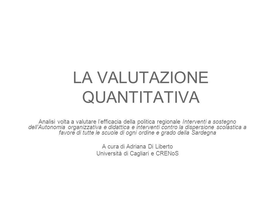 LA VALUTAZIONE QUANTITATIVA Analisi volta a valutare lefficacia della politica regionale Interventi a sostegno dellAutonomia organizzativa e didattica