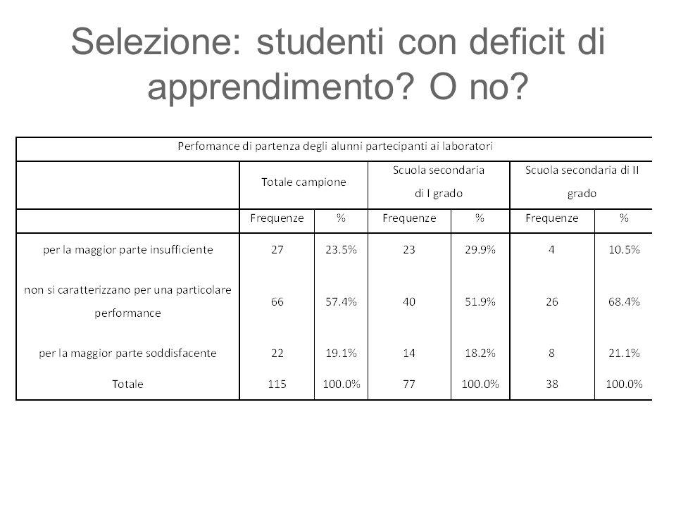 Selezione: studenti con deficit di apprendimento? O no?