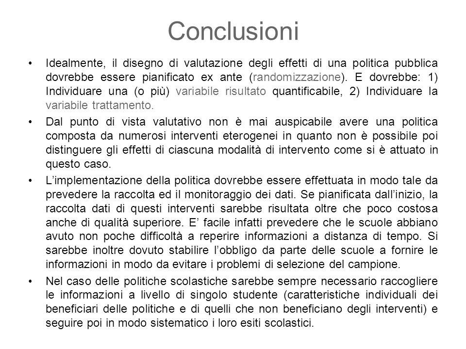 Conclusioni Idealmente, il disegno di valutazione degli effetti di una politica pubblica dovrebbe essere pianificato ex ante (randomizzazione). E dovr