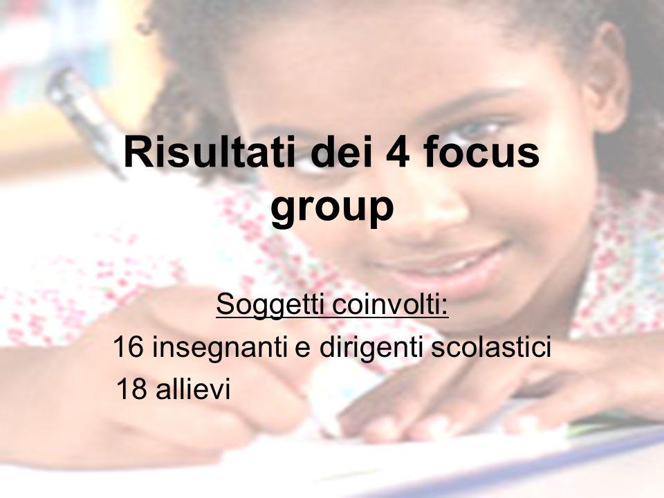 Risultati dei 4 focus group Soggetti coinvolti: 16 insegnanti e dirigenti scolastici 18 allievi