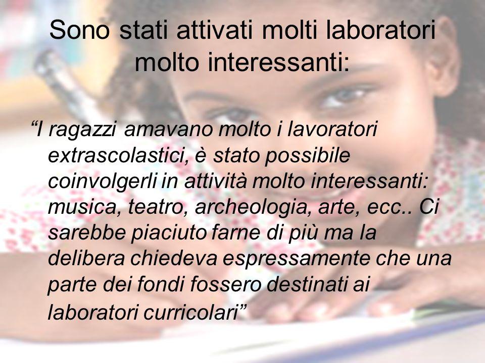 Sono stati attivati molti laboratori molto interessanti: I ragazzi amavano molto i lavoratori extrascolastici, è stato possibile coinvolgerli in attiv