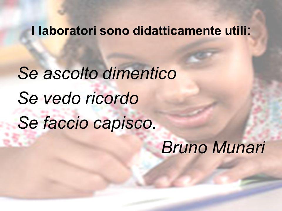 I laboratori sono didatticamente utili : Se ascolto dimentico Se vedo ricordo Se faccio capisco. Bruno Munari