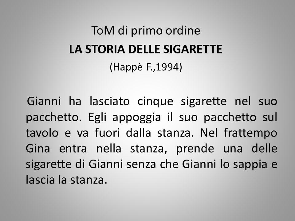 ToM di primo ordine LA STORIA DELLE SIGARETTE (Happè F.,1994) Gianni ha lasciato cinque sigarette nel suo pacchetto. Egli appoggia il suo pacchetto su