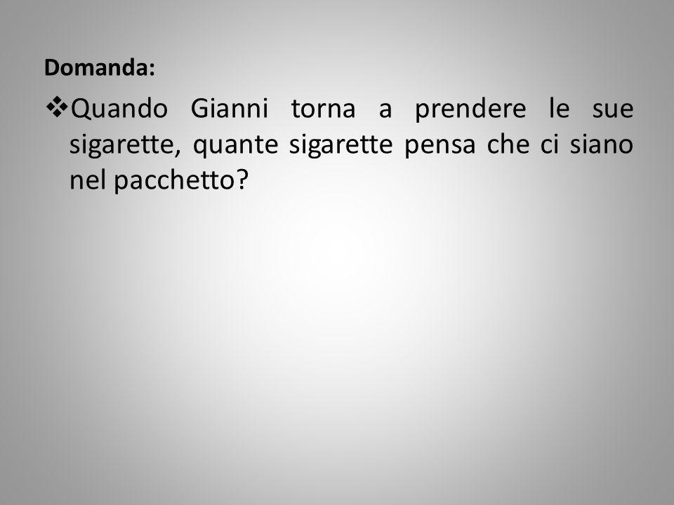 Domanda: Quando Gianni torna a prendere le sue sigarette, quante sigarette pensa che ci siano nel pacchetto?
