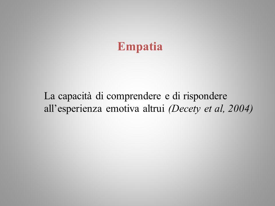 Empatia La capacità di comprendere e di rispondere allesperienza emotiva altrui (Decety et al, 2004)